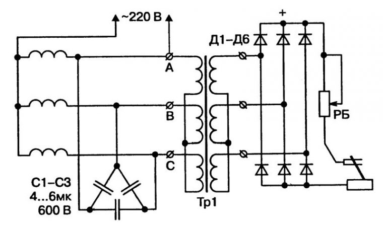 Принципиальная схема сварочного трансформатора